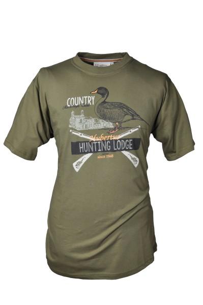 Rundhals Shirt Jagdschloss - Aufdruck Ente und Gewehr