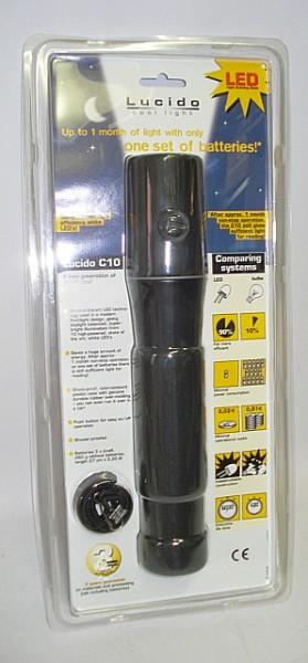 Lucido Stablampe C10 m. 10LED - ABS-Kunststoff,27cm lang,
