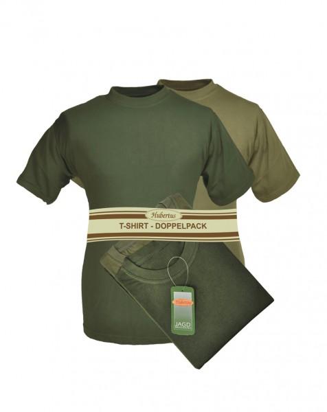 T-Shirt Doppelpack in Oliv und Schilf einfach Rundhals ohne Druck zeitlos