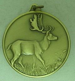 Jagdmedaille Damhirsch-bronze - 40 mm, Ring und Öse