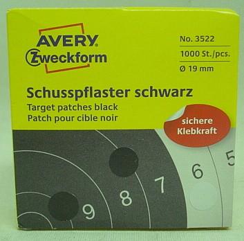Schusspflaster schwarz - 19mm