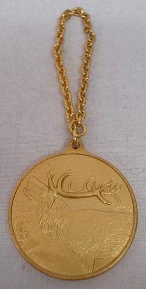 Jagdmedaille Hirsch - gold - 40 mm, Ring und Öse