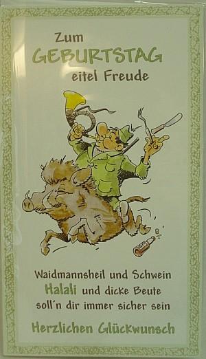 Geb.Karte witzig/Jäger reitet -