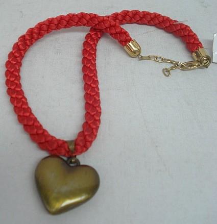 Kordel mit goldenem Herz - rotes Band