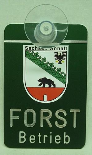 Autoschild Forstbetrieb mit Wappen und Magnethalterung