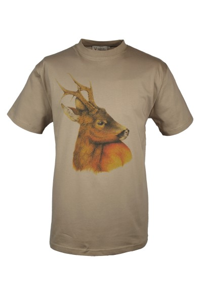 T-Shirt Motiv Rehbock - bunt, Rundhals