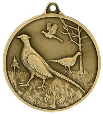 Jagdmedaille Fasan- bronze - 40 mm, Ring und Öse