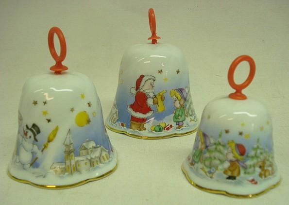 Porzelan Glockensatz mit Weihnachtsmotiv Wintermotiv Schneeman Schnee