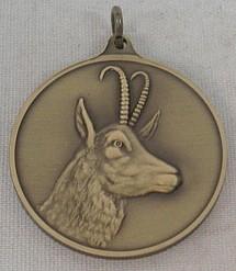 Jagdmedaille Gams - bronze - 40 mm, Ring und Öse