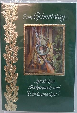 Geb.Karte Jagd gold.Eichenlaub -