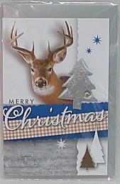 kleine Weihnachtskarte Silber mit hervorgehobenen Weihnachtsbaum