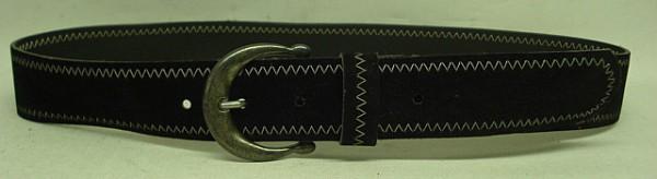 Velour-Leder 80 cm Länge - schwarz weiße Zackenumrandung