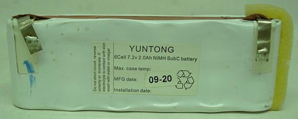 NIMH Akkublock 6Cell - 7,2V, 2,0 Ah, Yuntong