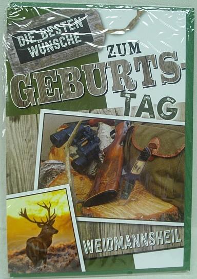 Geb.Karte Waidmannsheil - Hirsch mit Rucksack